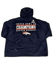 Nike Super Bowl 50 Denver Broncos Xl Navy Pull Over Hoodie H2 Therma -fit