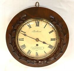Antique 8 Inch Convex Dial Carved Mahogany Fusee Wall Clock Balbiani Brookley
