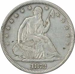 1872-s Liberty Seated Silver Half Dollar Ef Uncertified