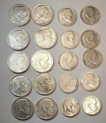 2 And 5 Mark 1936-1939 Germany 3rd Reich Silver Coin Set Xf 10 Sets