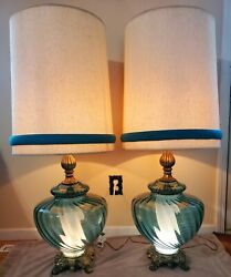 Mcm Vintage Blue Swag Glass Globe Table Lamp Light Set Of Two W/ Matching Shades