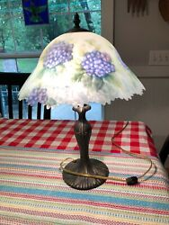 Glynda Turley Hand Painted Glass Shade Floral Hydrangea Table Lamp