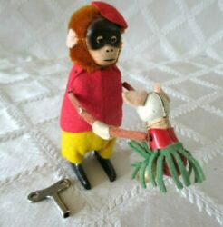 Vintage Schuco-germany- Wind-up Monkey Dances W Mouse And Key- Antique Toy-4.5