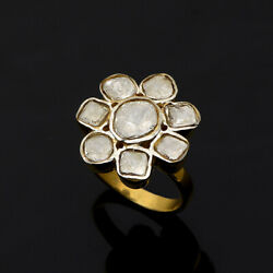 2.00 Ctw Natural Diamond Polki Cocktail Vermeil Ring 925 Sterling Silver