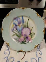 Beautiful 22k Hutschenreuther Selb Bavaria 10andrdquo Dinner Plate Hand Painted Iris