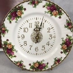 Royal Albert Old Country Roses Bone China Plate Wall Clock 1962 Whitby Rose