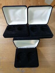 3 Display Cases Only--each Case Holds 2-1 Ounce Silver Coins No Coins Nice J