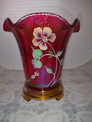 Fenton Ruby/red Flip Vase With Gold Base-ltd Edition 100th Anniversary