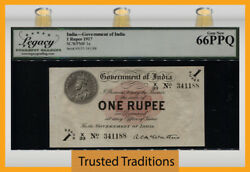 Tt Pk 1e 1917 India 1 Rupees Watermark Star Scarce Note Lcg 66 Ppq Tied As Best