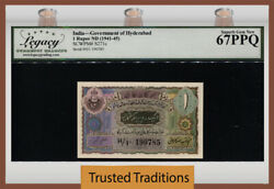 Tt Pk S271c 1941-45 India 1 Rupees Scarce Note Lcg 67 Ppq Superb Finest Known