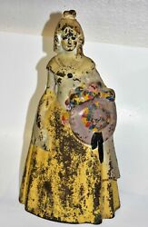 Vintage Cast Iron Doorstop Southern Belle Woman Holding Hat And Flowers Long Dress