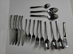Food Network Bobby Flay Martilla 17 Piece Stainless Hammered Silverware Flatware