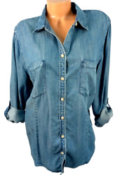 Chico's Blue Denim Look 3/4 Sleeves Front Pockets Buttoned Down Top 3 , Xl