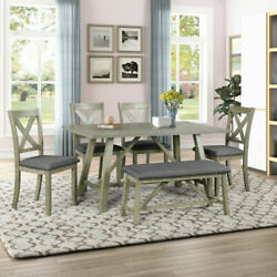 Us 6pcs Rustic Style Dining Table Set Wood Dining Table Chair Bench Table Set