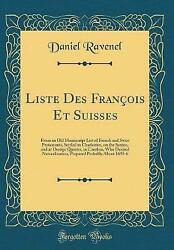 Liste Des Franois Et Suisses From An Old Manuscript List Of French And Swiss Pro