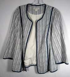 Coldwater Creek Size 18 Blue White 3/4 Sleeve Open Cotton Jacket