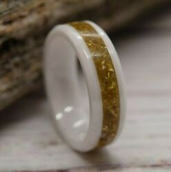 White Ceramic Ring With A German Gold Glass Inlay Size 7 Ready To Ship