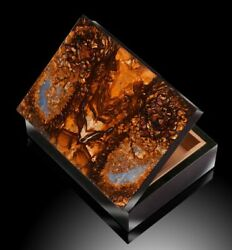 Perfectly Carved Rectangular Gem Box Has A Boulder Opal Top And Black Stone Onyx