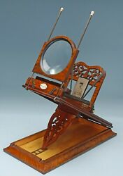 Antique Victorian Burr Walnut Table Top Stereoscope Graphoscope Roswell's Patent