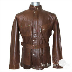 Panther Army Style Pure Leather Jacket Belt Vintage Tan Brown Motorbike Mens Wax