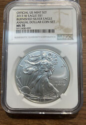 2013 W Annual Uncirculated Dollar Coin Set 1 Burnished Silver Eagle Ngc 70