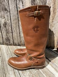 Vintage Mens Tall Chippewa Brown Leather Engineer Motorcycle Boots Size 11 D