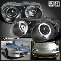 For Black 1998 2001 Acura Integra LED Halo Projector Headlights Lamps LeftRight