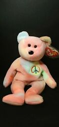 1996 Rare Retired Ty Beanie Baby Peace Bear With Tag Errors Free Shipping