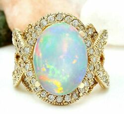Igi Certified 5.32ct Natural Opal Solid 14k Yellow Gold Luxury Diamond Ring
