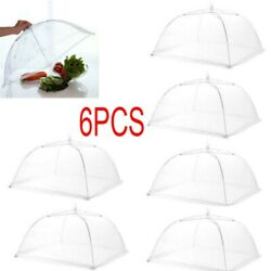 6 X Set Of Protective Food Cake Bbq Covers Insect Folding Mesh Umbrella 17''inch