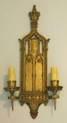 Antique Ornate Bronze Large Gothic Spanish Revival Sconce Light 25and039and039 High