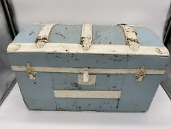 Antique Baby Blue Humpback Trunk +tray Doll Chest Footlocker Camelback Storage