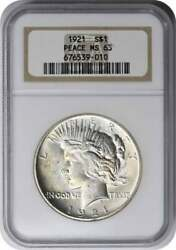 1921 Peace Silver Dollar Ms63 Ngc