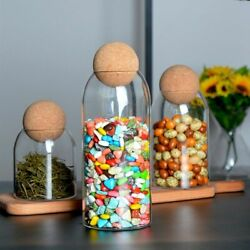 4pcs Cookie Jar Glass Container Ball Cork Candy Coffee Bottle Storage Tank 250ml