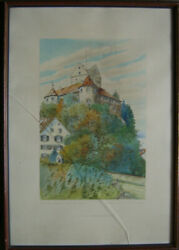 Paul E.irmler Castle Meersburg At Bodensee Nature Berg Forest Antique Signed
