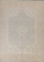 Vegetable Dye Muted Geometric Oushak Turkish Area Rug Hand-knotted 8and039x10and039 Carpet
