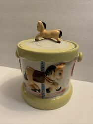 Rare Vintage Tilso Handpainted Carousel Horses And Red Hearts Cookie Jar Japan
