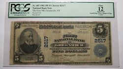 5 1902 Greenwich New York Ny National Currency Bank Note Bill Ch 2517 F12 Pcgs
