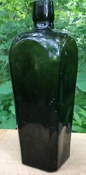 """Antique Dark Green Case Gin Bottle With Lots Of Elongated Bubbles 9.75"""" Tall"""