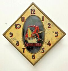 Italian Antique Advertising Clock In Color Lithographed Tin By Lecco Box Factory