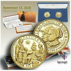 In Hand 400th Anniversary Of The Mayflower Voyage Two-coin Gold Proof Setandnbsp
