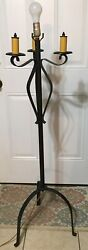 Vintage Wrought Iron Floor Lamp 1 Light And 3 False Lights Candleabra