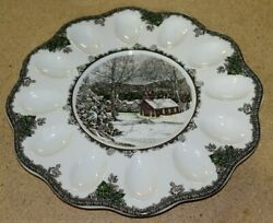 Johnson Brothers China Friendly Village Deviled Egg Plate 11 3/4 England Mint