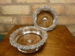2 Lovely Antique Champagne Wine Bottle Coasters Silver Plated Wooden Base