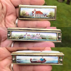 Antique Rare French Austrian Gold Gilded Enamel Solid Silver Ruby Pill Snuff Box