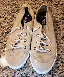 Euc Sperrys Top-sider Beige Tan Womens Lace Up Canvas Sneakers Shoes Size 9 Nice