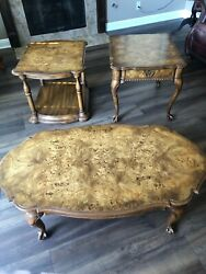 Weiman Burl Wood Chippendale Coffee Table And End Tables