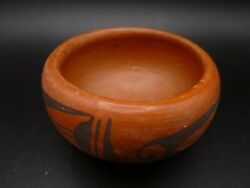 Vintage Hopi Red Clay Bowl Signed By Olive Toney
