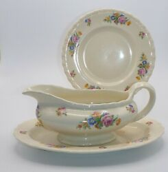 """1940's, Three Pieces Of Myott Son And Co. """"rose Of England"""" China"""