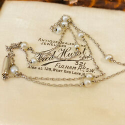 Exquisite, Edwardian Platinum And Natural Seed Pearl Chain, Length 17 / 43.5cm
